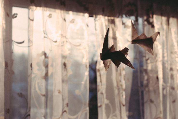 origami, vogel, birds, bird, nostalgie, licht, kranich, papier, paper