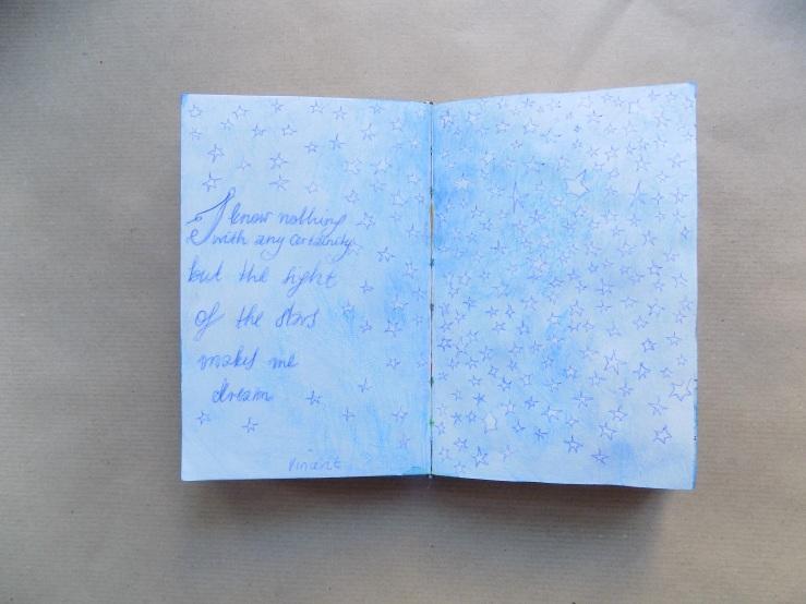 stars, sterne, skizzenbuch, sketchbook, skizze, sketch, van gogh, quote, zitat