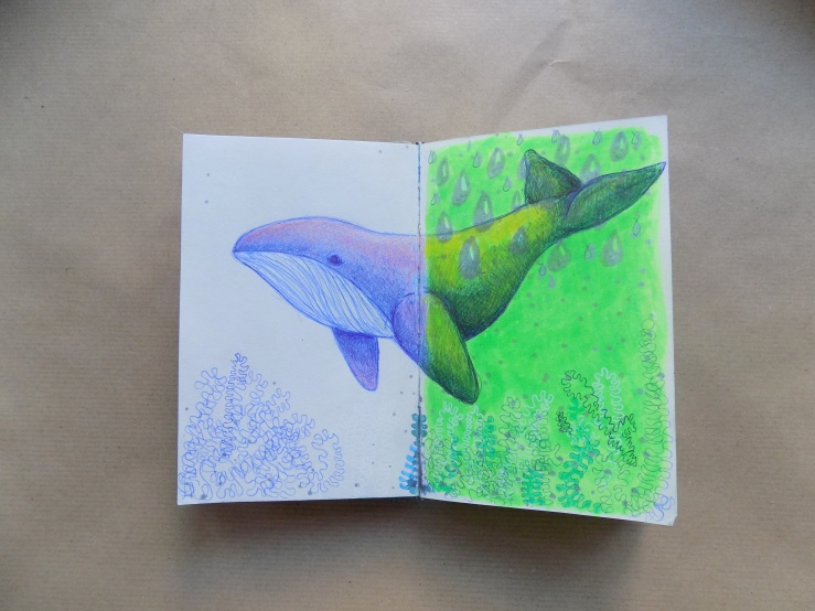 wal, whale, mixed media, art, sketchbook, skizzenbuch, kunst, hobby