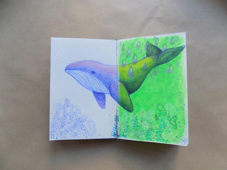 wal, whale, mixed media, art, sketchbook, skizzenbuch, kunst, hobby