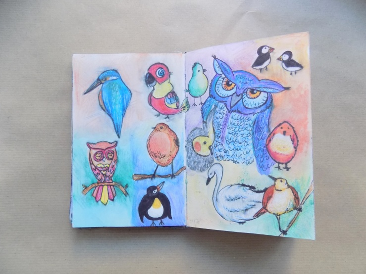 birds, vögel, zeichnung, kunst, skizzenbuch, skizze, sketch, mixed media