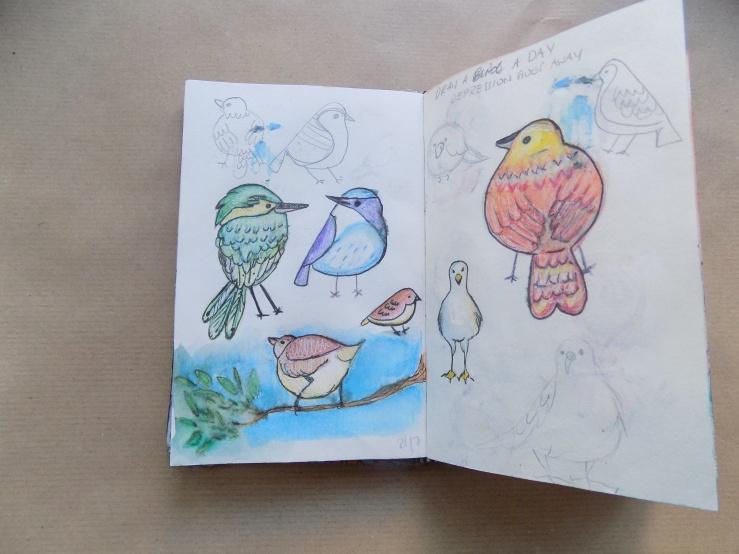 vögel, birds, sketch, skizze, skizzenbuch, mixed media, art, kunst, hobby