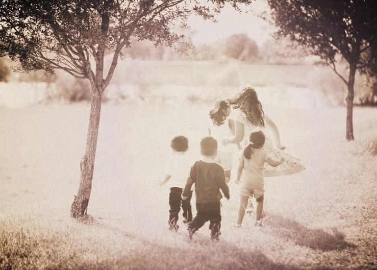 Kinder, spielen, garten, laufen, Geschwister, Familie, Bruder, Schwester